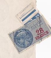Bordeaux Gironde Jonnau 1944 Timbres Fiscaux + Marianne De Gandon 15F - Revenue Stamps