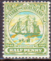TURKS AND CAICOS ISLANDS 1905 SG #110 ½d MH Wmk Mult. Crown CA - Turks And Caicos