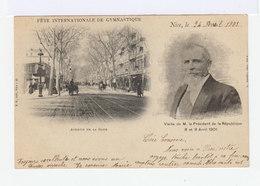 Nice. Fête Internationale De Gymnastique 1901. Avenue De La Gare. Portrait Président De La République. (2681) - Transport Urbain - Auto, Autobus Et Tramway