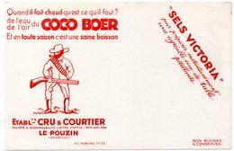Buvard Boisson Rafraichissante, Coco Boer Et Sels Victoria. Ets Cru & Courtier, Le Pouzin (Ardèche) - Buvards, Protège-cahiers Illustrés