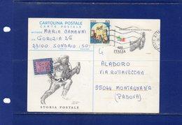 ##(DAN184/1) -1992 - Cartolina Postale L.400 Esposizione Mondiale Di Filatelia Da Sondrio Per Montagnana, Tassata  L.500 - 1991-00: Storia Postale