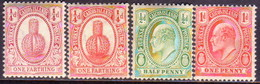 TURKS AND CAICOS ISLANDS 1909-11 SG #115-18 First Four Stamps Of The Set MH/MNH - Turks And Caicos