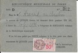 TIMBRE FISCAL 50 C - 1936 - ABONNEMENT BIBLIOTHEQUE MUNICIPALE - TOURS  37 - Revenue Stamps