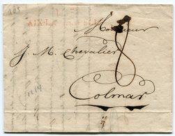 Département De La ROER DeAIX LA CHAPELLE LAC Du 19/12/1814 Linéaire AIX LA CHAPELLI !!! Taxée 8 Pour COLMAR - Storia Postale