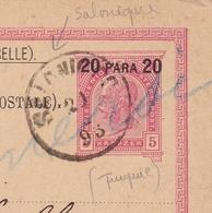 Salonique 1893 Empire Austro Hongrois Entier Postal Gênes Genova Thessalonique Grèce - Brieven En Documenten