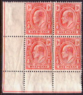 TURKS AND CAICOS ISLANDS 1909 SG #118 1d A Corner Block Of Four MNH (1 Stamp Is MLH) Some Crease On Back - Turks And Caicos