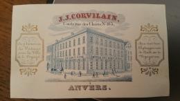 Carte Porcelaine (Porseleinkaart) - Anvers (Antwerpen) - J.J Corvilain - Voitures - Courte Rue Des Claires, N°165 - Antwerpen