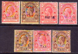 TURKS AND CAICOS ISLANDS 1917-19 SG #140//53 Selection Of 7 MLH/MNH Stamps Optd WAR TAX - Turks And Caicos