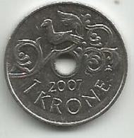 Norway 1 Krone 2007.  KM#462 - Norvège