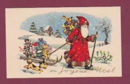 230418 - Carte Mignonnette PERE NOEL FETE - JOYEUX NOEL Luge Hotte Jouet Chien Ours En Peluche - Weihnachten