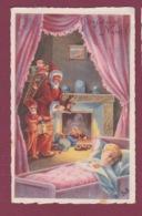 230418 - Carte Mignonnette PERE NOEL FETE - JOYEUX NOEL Lutin Lanterne Cheminée Hotte Jouet Enfant Berceau Ours Peluche - Autres