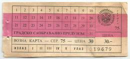 Old Bus Ticket From Belgrade Serbia Yugoslavia - Bus
