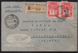 SOMALIA - DIRE DAUA - ETHIOPIA - HARAR / 3-3-1938 LETTRE RECOMMANDEE PAR AVION POUR LA FRANCE (ref 5054) - Somalia