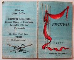 PETIT CALENDRIER 1960 PARFUMS CHERAMY PARIS  OFFERT PAR JEAN DION COIFFURE DAMES MESSIEURS PARFUMERIE TOURS - Calendriers