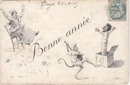 CPA   Art Nouveau Illustrateur Signé A.MULLER   Bonne Année - Ilustradores & Fotógrafos