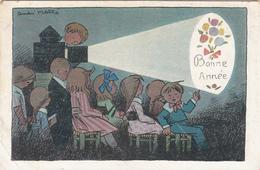 CPA   Enfants Au Cinéma Illustrateur Signé André HELLE    Bonne Année - Autres Illustrateurs