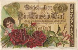 REICHSBANKNOTE  /  CARTE  FANTAISIE  GAUFRÉE  /  Représentation D ' Un Billet De Banque Et  De  Monnaies  /  Ange, Roses - Monnaies (représentations)