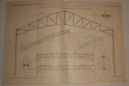 Plan D'une Charpente Métallique De L'Exposition Décennale De L'automobile En 1907. 1908 - Public Works