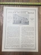 PUBLICITE ETABLISSEMENTS WEBER JULES METZ COFFRES FORTS VALETTE SEROT LOUIS FURDERER OUTILLAGE ROUTE DE MAGNY - Collections