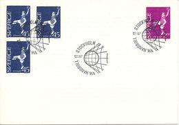 Sweden FDC 12-1-1967 World Cup Handball Complete Set - Handball