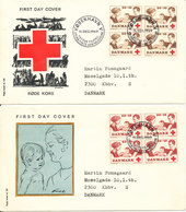 Denmark FDC 11-12-1969 RED CROSS Complete Set In Block Of 4 On 2 Covers With Cachet - Red Cross