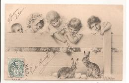 Illustrateur - Wichera - Enfants Avec Des Lapins - Wichera