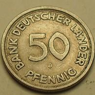 1949 - Allemagne - Germany - 50 PFENNIG, (J), KM 104 - [ 7] 1949-… : FRG - Fed. Rep. Germany