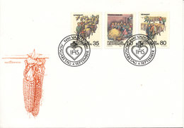 Liechtenstein FDC 4-9-1989 Autum Traditions Complete Set Of 3 With Cachet - FDC