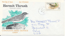 Canada FDC 23-7-1969 Hermit Thrush With Cachet Cole Cover - Songbirds & Tree Dwellers