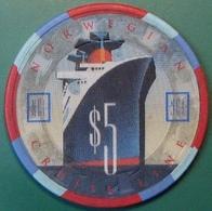$5 Casino Chip. Norwegian Cruise Line. G99. - Casino