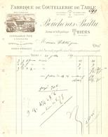 FACTURE 1889 BOUCHERAS BATTU THIERS COUTELLERIE DE TABLE FINE ORDINAIRE - LOGO USINE HYDROLYQUE - France
