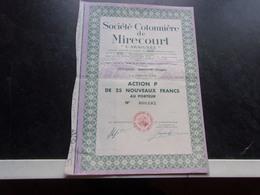 """COTONNIERE DE MIRECOURT """"l'araignée"""" (vosges) - Shareholdings"""