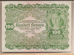 Austria Ungheria - Banconota Non Circolata SUP Da 100 Corone P-77 - 1922 - Austria