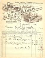 FACTURE 1899 LES FILS DE P. CLÉMENT FORGE LAMINOIR D'UZEMAIN VOSGES MARTINET TAILLANDERIE DE CORRAVILLERS - France