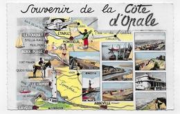 SOUVENIR DE LA COTE D' OPALE EN 1957 - N° 2 - CARTE - FORMAT CPA VOYAGEE - France