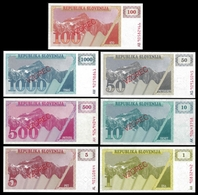 Slovenia 1,5,10,50,100,500,1000 TOLARJEV SPECIMEN 1990 UNC X 7 PCS - Slovenia