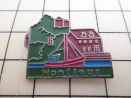 Pin711e Pin's Pins : Rare Et Belle Qualité : VILLES / NORMANDIE CALVADOS HONFLEUR PORT VOILIER - Cities