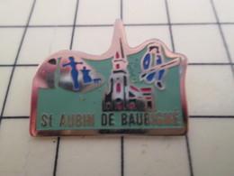 Pin711e Pin's Pins : Rare Et Belle Qualité : VILLES / EGLISE SAINT AUBIN DE BAUBIGNE - Cities
