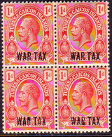 TURKS AND CAICOS ISLANDS 1917 SG #140 1d In A Block Of Four MNH Optd WAR TAX - Turks And Caicos