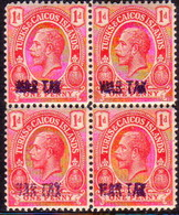 TURKS AND CAICOS ISLANDS 1919 SG #149 1d In A Block Of Four MNH Optd WAR TAX - Turks And Caicos