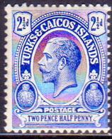 TURKS AND CAICOS ISLANDS 1921 SG #158 2½d MLH Wmk Mult.Script CA - Turks And Caicos