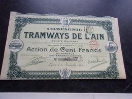 TRAMWAYS DE L'AIN (action 100 Francs) 1906 - Shareholdings