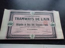 TRAMWAYS DE L'AIN (obligation 250 Francs) 1910 - Shareholdings