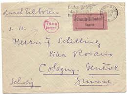 Taxe Perçue Deutsches Reich - Schweiz INFLATION 8 IX 1923 + Expressaufkleber Durch Eilboten Lettre Exprès Cologny Selten - Deutschland