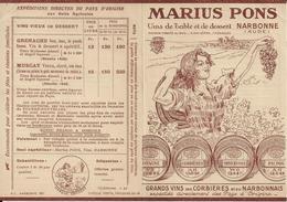 NARBONNE MARIUS PONS VINS DE TABLE PUBLICITE ET TARIF CORBIERES LANGUEDOC MINERVOIS THEZAN ANNEE 1930 - France