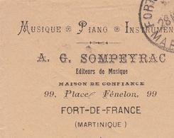 Lettre Martinique Fort De France Sompeyrac Musique Piano Instruments 1926 - Lettres & Documents