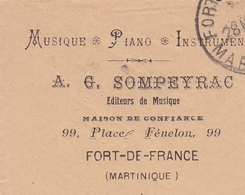 Lettre Martinique Fort De France Sompeyrac Musique Piano Instruments 1926 - Martinique (1886-1947)