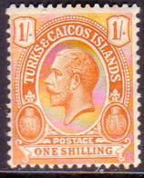 TURKS AND CAICOS ISLANDS 1921 SG #161 1sh MH Wmk Mult.Script CA CV £13 - Turks And Caicos