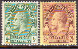 TURKS AND CAICOS ISLANDS 1928 SG #176,180 ½d,2½d MLH POSTAGE & REVENUE - Turks And Caicos