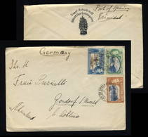 (Ref #00079)  TRINIDAD & TOBAGO - 1938 SG246, 247 & 250 On Cover (Segel-Schulschiff A.L. Schlageter) To Koblenz, Germany - Trinidad & Tobago (...-1961)